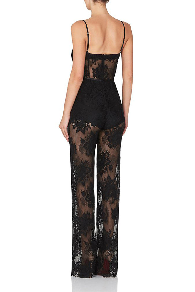 Strap Lace See-Through Bandage Straight Jumpsuits