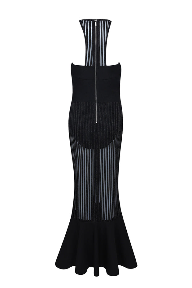 Black Sleeveless Mesh Cut Out Mermaid Bandage Maxi Dress