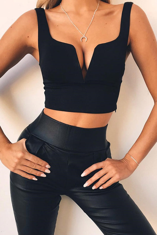 Sexy Deep V Solid Color Bandage Cropped Top