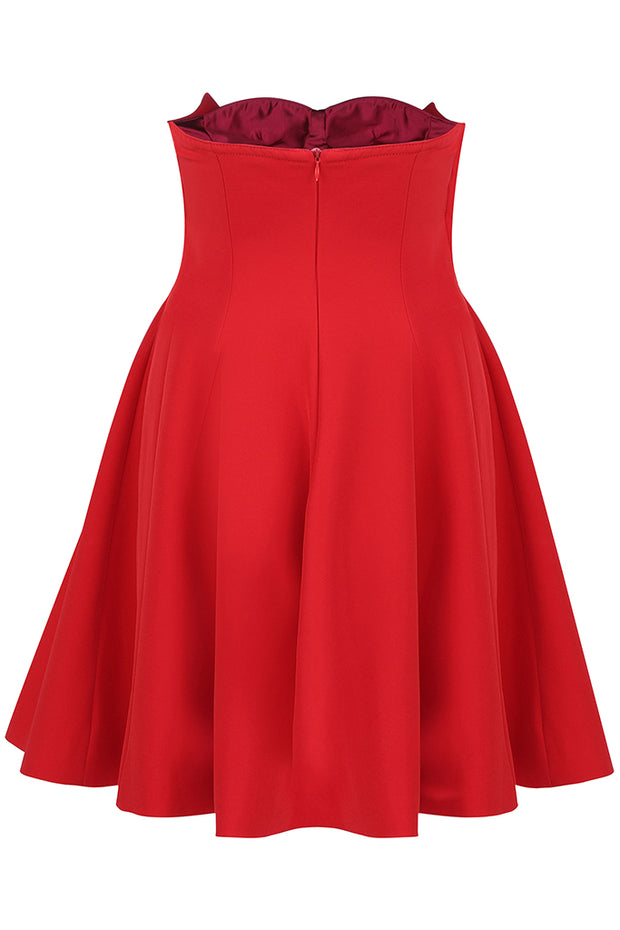 Red Strapless Sexy A-Line Women Party Mini Dress