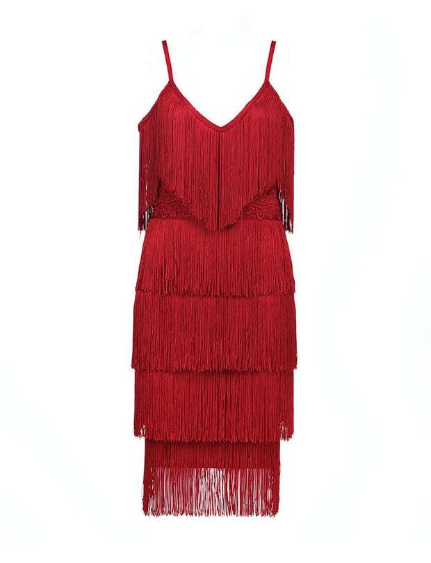 Solid Color Tassel Spaghetti Strap Tiered Mini Dress