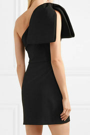 One Shoulder Bow Tie Detail  Mini Dress