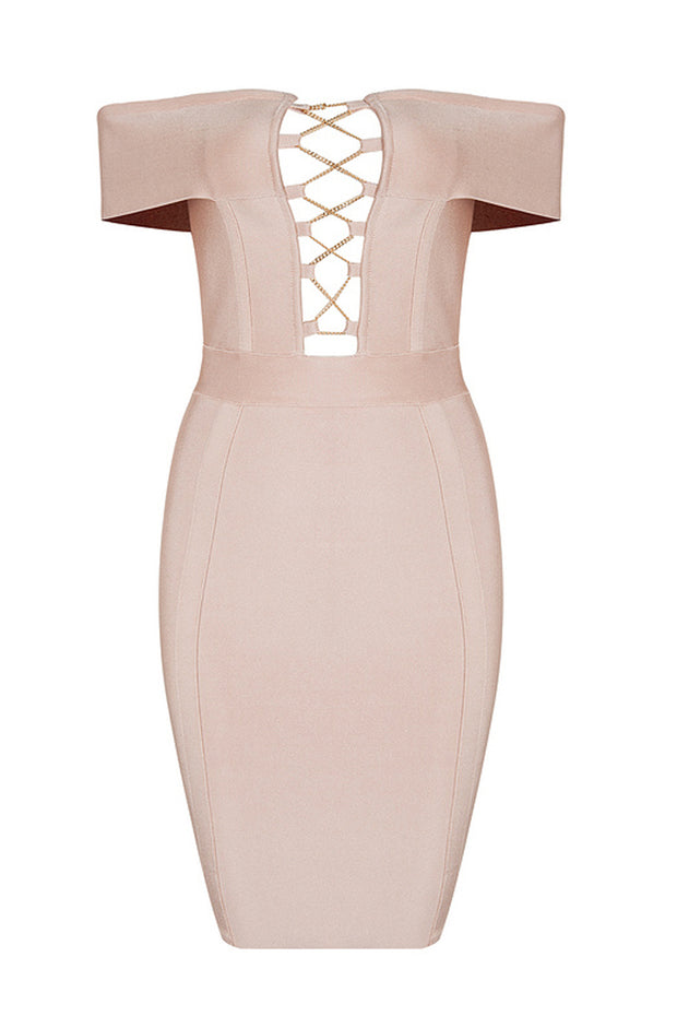 Off Shoulder Lace Up Mini Bandage Dress