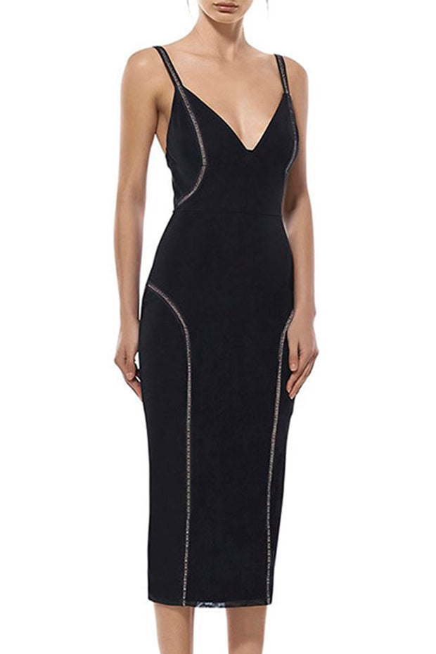 Spaghetti Strap Plunge Bandage Bodycon Midi Dress