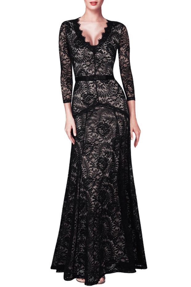 Sexy Lace V Neck Long Sleeve Floral Floor Length Dress