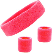 PETW Sweatband Set Cotton Sports Headband Terry Cloth Wristband Moisture Wicking Sweat Absorbing Head Band Athletic Exercise Basketball Wrist Sweatbands and Headbands