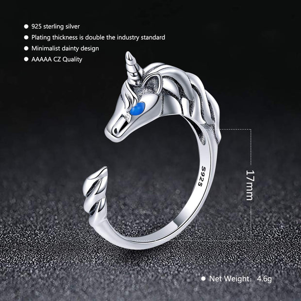 Unicorn Open Ring Sterling Silver