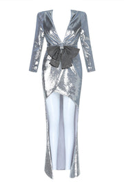 Silver Deep V Bow Detail 3/4 Sleeve Slit Sparkling Blazer Dress