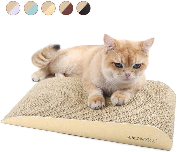 PETW Cat Scratcher Ramp, Inclined Corrugated Cardboard Kitty Scratching Pad Lounge with Bottom, Catnip Included
