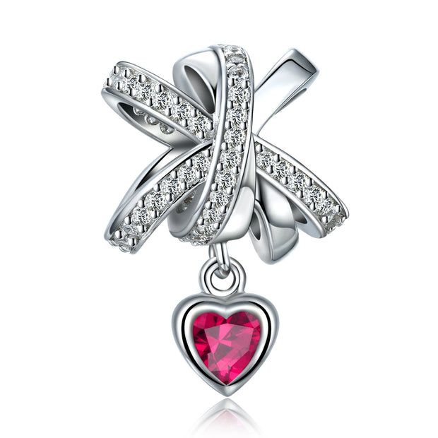 Bowknot Heart Charm Sterling Silver
