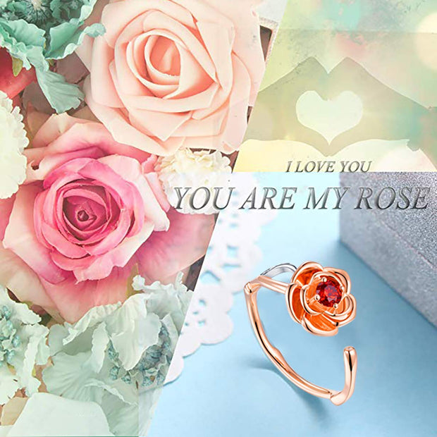 Rose Adjustable Open Ring Sterling Silver
