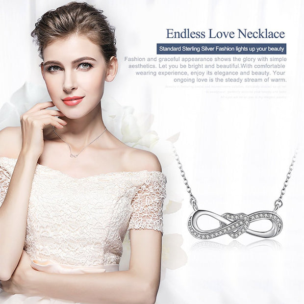 Infinity Love Bow Knot Heart Necklace Sterling Silver