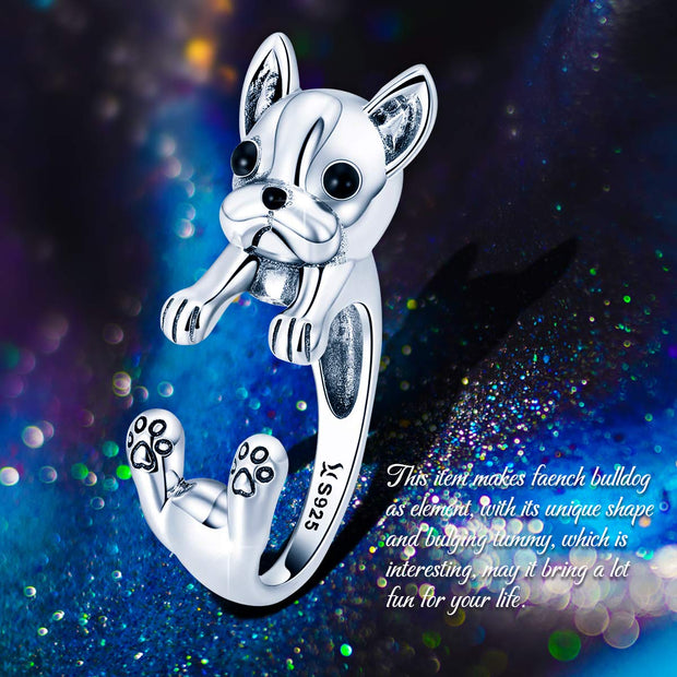 French Bulldog Puppy Ring Sterling Silver