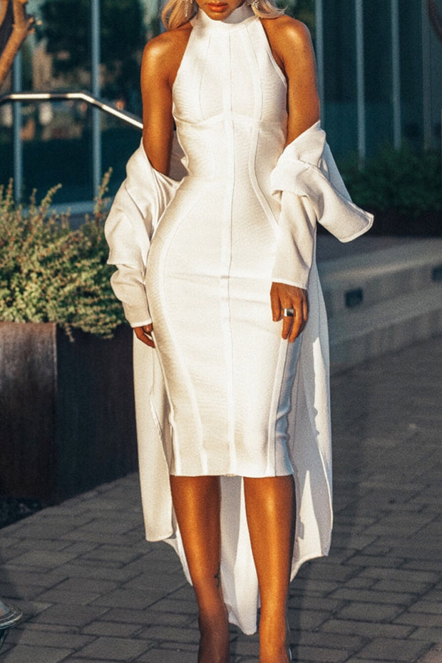 White Halter Structured Midi Bandage Dress