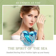 Blue Heart Mermaid Enamel Charm