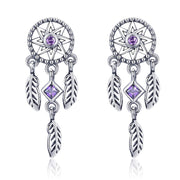 Dream Catcher Feathers Tassel Purple Earrings Sterling Silver