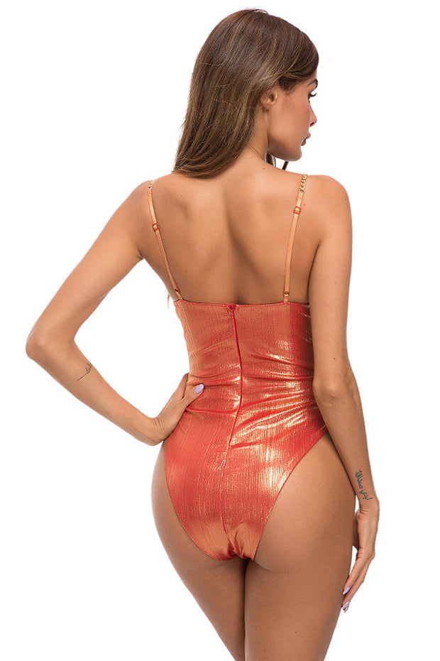 Spaghetti Strap V-neck Backless Sexy Bodysuit