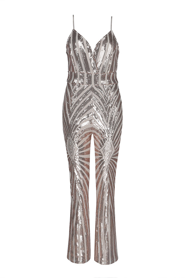 Spaghetti Strap V-Neck Sequined Fitted Jumpsuit Apricot