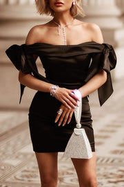 Taylor Bow Off Shoulder Dress-Black