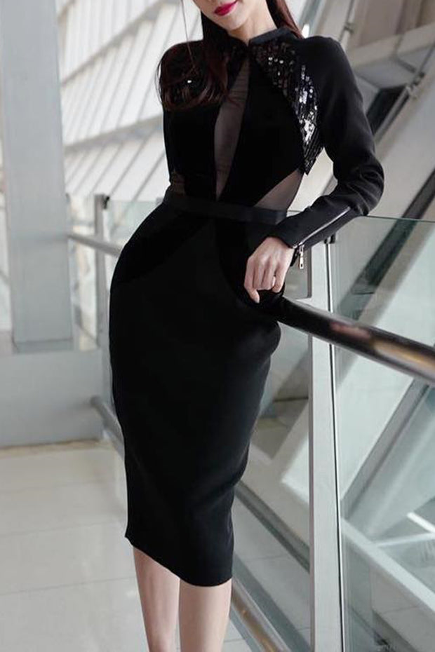 Long Sleeve Tulle Detail Sequined Slit Black Midi Dress