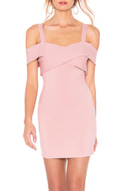 Cold Shoulder Cross Bandage Mini Dress
