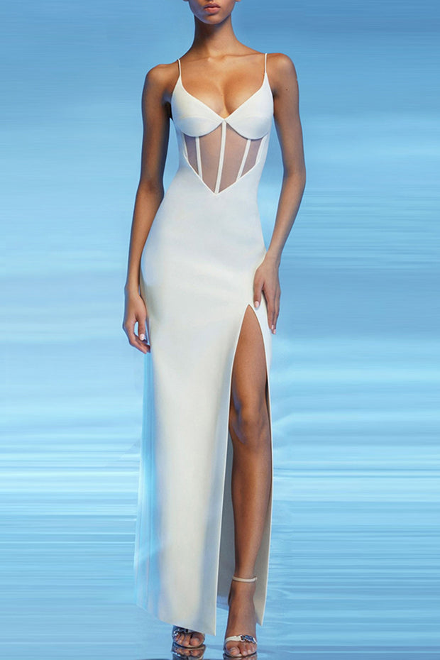 Jaelyn Sling Hollow Out Bandage Dress-White