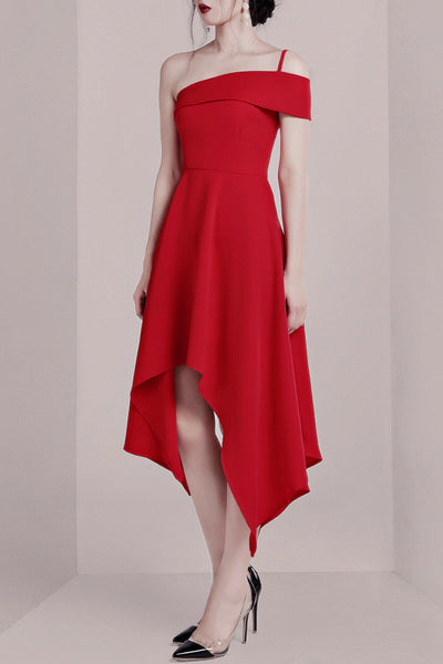 One Shoulder Party A-Line Dress -Red