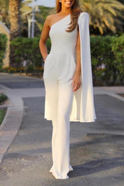 One Shoulder Split Long Sleeve Cape Wide Leg Jumpsuit