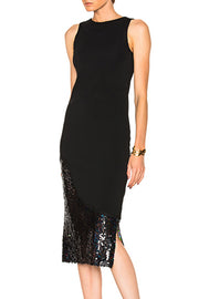 Round Neck Sleeveless Sequin Black Midi Dress