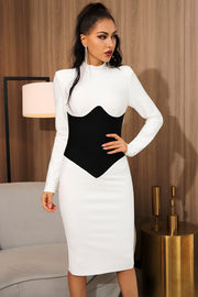 Midi Long Sleeve Bandage Dress