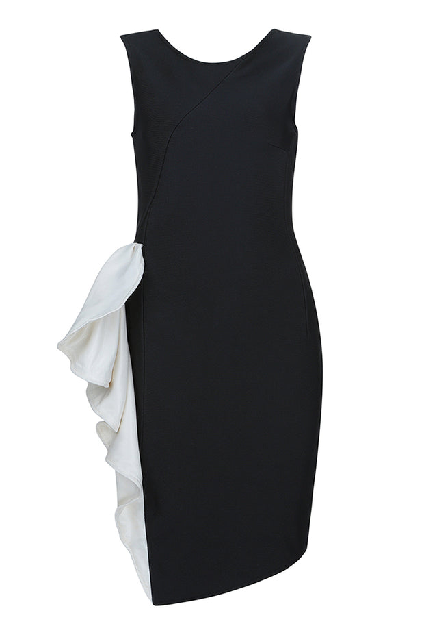 Sleeveless Round Neck Ruffle Slit Midi Dress