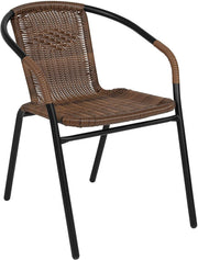 PETW  4 Pk. Medium Brown Rattan Indoor-Outdoor Restaurant Stack Chair