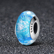 Blue Murano Glass Charm Sterling Silver