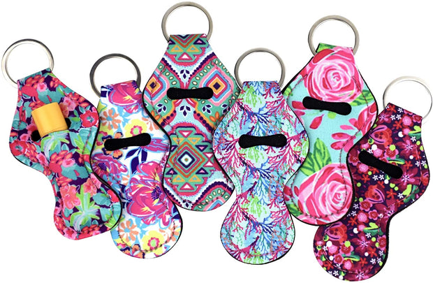 PETW Wristlet Keychain Lanyard 6 Pack - Neoprene Key Chain Holder to Match Chapstick Holder Keychain, 6 Unique Fun Colors