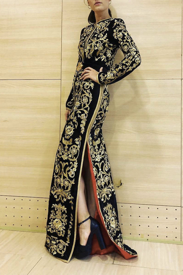 Round Neck Long Sleeve Side Slit Women Maxi Dress Gown