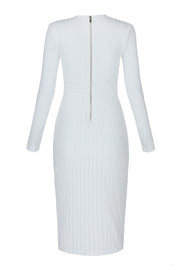 White Deep V Long Sleeve Bandage Midi Dress