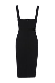 Sleeveless Spaghetti Strap Belt Bodycon Midi Dress