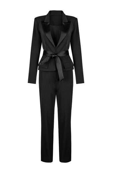 Plunge Fitting Charmeuse Belt Two-Piece Pant Suit