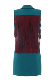 Double Breasted Sleeveless Tassels Dress- Blue