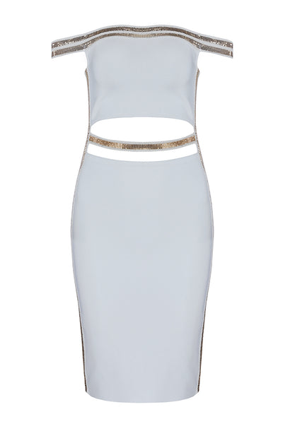 Off Shoulder Midriff-Baring White Bodycon Dress