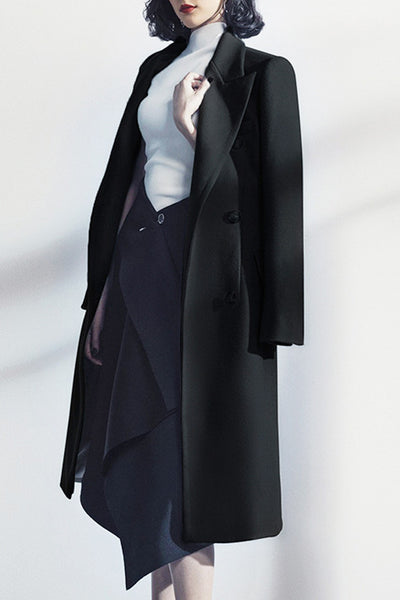 Long Sleeve Maxi Woolen Coat-Black