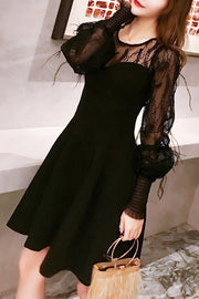 Feather Lace Sleeve A Line Dress- Black