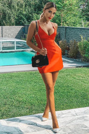 Spaghetti Strap V-neck Backless Mini Dress