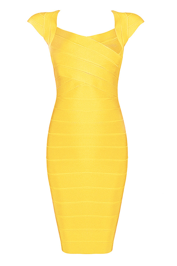 Solid Color Sleeveless V Neck Bandage Bodycon Midi Dress