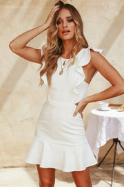 Ruffles Backless Mermaid Mini Dress