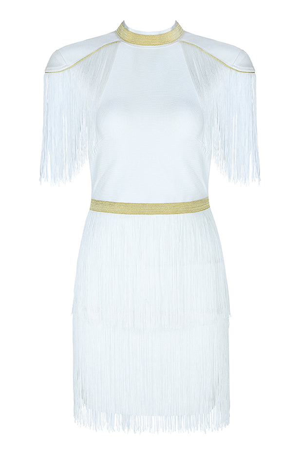 Officer Fringe Gold Trim Bandage Mini Dress