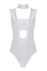 Chocker Cut Out Sleeveless Bandage Bodysuit