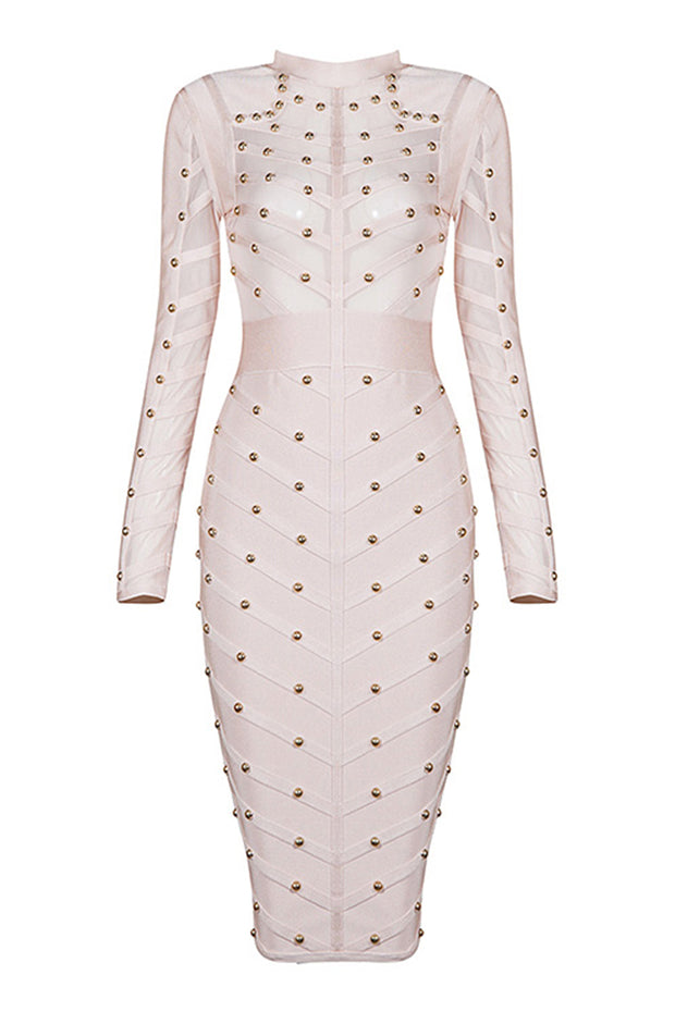 Long Sleeve Studded Mesh Midi Dress
