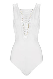 Lace Up Sleeveless Bodysuit Solid Color