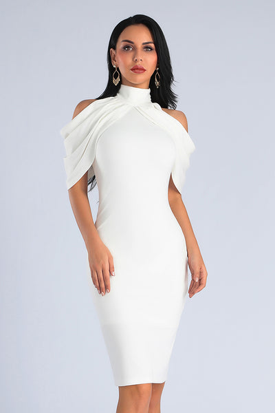 Halter Batwing Sleeve Midi Dress